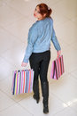 Beautiful young woman shopping girl with a bag Royalty Free Stock Images