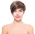 Beautiful young woman with short hair Royalty Free Stock Photo
