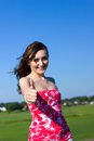 Beautiful young woman shows the thumb up Royalty Free Stock Image