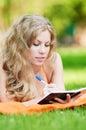 Beautiful young woman study Stock Photos