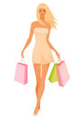 Beautiful young woman in summer dress illustration of a shopping Royalty Free Stock Photos