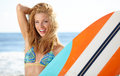 Beautiful Young Woman Surfer. Girl in Bikini with Surfboard at a Royalty Free Stock Photo
