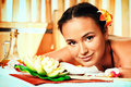 Beautiful young woman taking spa treatments at the salon Stock Photo