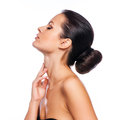 Beautiful Young Woman Touching Her Face Royalty Free Stock Photo