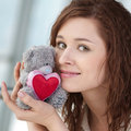 Beautiful young woman with a toy Royalty Free Stock Photos