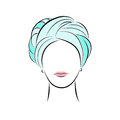 Beautiful young woman in turquoise turban. Vector fashion sketch in hand drawing style for your design. EPS10 Royalty Free Stock Photo