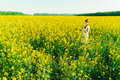 Beautiful young woman in Ukrainian embroidered standing in a field of yellow rape flowers Royalty Free Stock Photo