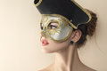 Beautiful young woman in venetian mysterious carnival mask fashion photo Stock Photography