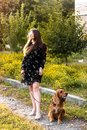 stock image of  Beautiful young woman is walking with dog on a sunny summer day.