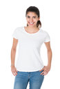 Beautiful Young Woman Wearing Blank White Tshirt Royalty Free Stock Photo