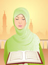 Beautiful young woman wearing green headscarf Royalty Free Stock Photos