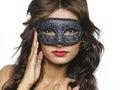 Beautiful young woman wearing venetian mask or mardi gras Royalty Free Stock Photos