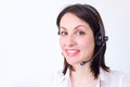 Beautiful young woman working telephone customer service photography Royalty Free Stock Photos