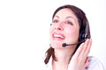 Beautiful young woman working telephone customer service photography Royalty Free Stock Images