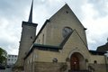 Beautifull brown church in limburg in the netherlands name of village is valkenburg Royalty Free Stock Photography