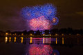 Beautifull colored fireworks in zagreb croatia at night colorful sky Royalty Free Stock Photos