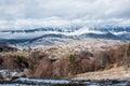 Beautifull landscape with dramatic blue sky carpathian mountains mountain scene winter scene in romanian carpathians Royalty Free Stock Photos