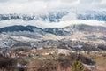 Beautifull landscape with dramatic blue sky carpathian mountains mountain scene winter scene in romanian carpathians fundata Royalty Free Stock Images