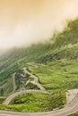 Beautifull landscape fog scene transfagarasan mountain mountain under in romanian carpathians Stock Photo
