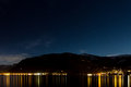 Beautifull night in austria all you need is stars lake and mountains Royalty Free Stock Image