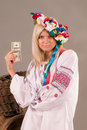 Beautifull ukrainian girl with dollar in her hand Royalty Free Stock Photo