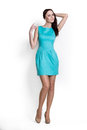Beautifull woman in blue dress Royalty Free Stock Image