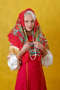 A beautifull woman in a folk russian dress Royalty Free Stock Images