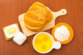Beautifully colored loaf of bread placed on wooden Royalty Free Stock Photo