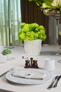 Beautifully decorated table in the restaurant linen tablecloth and napkin Stock Photography