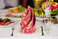Beautifully decorated table for a wedding dinner in a restaurant Royalty Free Stock Photo