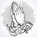 Beautifully detailed human hands folded in prayer. Appeal to the God. Faith and hope. Religious motifs. Academic art. Vector art.
