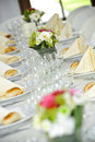 Beautifully laid wedding table Stock Photos