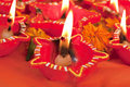 Beautifully Lit Diwali Lamps Stock Photos