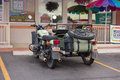A beautifully maintained motorcycle bike with sidecar as seen parked at strip mall in moab Stock Photo