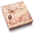 Beautifully packaged parcel in brown paper and tied with a rope Royalty Free Stock Photos