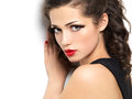 Beautiul fashion girl with red lips Stock Image