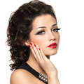 Beautiul fashion model with red manicure and lips isolated on white background Royalty Free Stock Photos