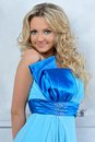 Beautiul woman in blue dress. Royalty Free Stock Photography