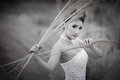 Beautuful bride in forest cloudy twilight blue sky a Stock Photo
