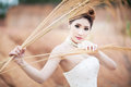 Beautuful bride in forest cloudy twilight blue sky a Royalty Free Stock Photos