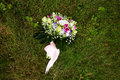 Beautuful wedding bouquet beautiful bridal of flowers on green lawn Stock Image
