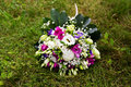 Beautuful wedding bouquet beautiful bridal of flowers on green lawn Royalty Free Stock Images