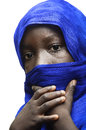Beauty of Africa Veiled by a Blue Typical Arab Clothing Tuareg Royalty Free Stock Photo