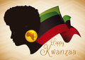 Beauty Afro-American Woman Silhouette with Kwanzaa Flag, Vector Illustration