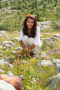 Beauty in the alps beautiful young lady enjoying of swiss mountains Royalty Free Stock Photos