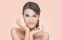 Beauty Asian Portrait, Beautiful Spa Woman Touching her Face. Perfect Fresh Skin Royalty Free Stock Photo