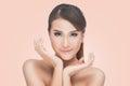 Beauty Asian Portrait, Beautiful Spa Woman Touching her Face. Perfect Fresh Skin Royalty Free Stock Photo