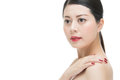 Beauty asian red lipstick woman nail polish finger on shoulder Royalty Free Stock Photo