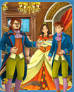 Beauty and the beast prince or princess castles knights and fairies illustration for the children happy colorful Royalty Free Stock Photos