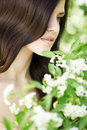 Beauty beautiful young girl with flowers Royalty Free Stock Photography